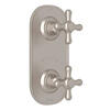 Verona 1/2 Inch Thermostatic and Diverter Control Trim - Satin Nickel with Cross Handle