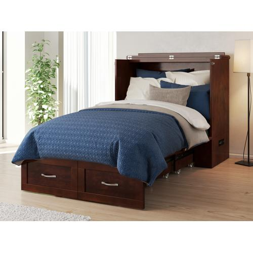 Hamilton Murphy Bed Chest Twin Extra Long Walnut with Charging Station