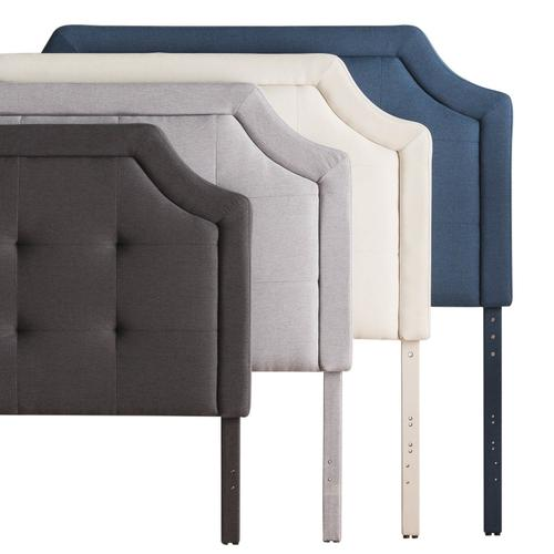 Scooped Square Tufted Upholstered Headboard King/Cal King Charcoal