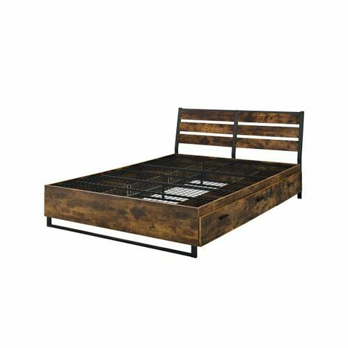 ACME Juvanth Eastern King Bed W/Storage, Rustic Oak & Black Finish - 24257EK