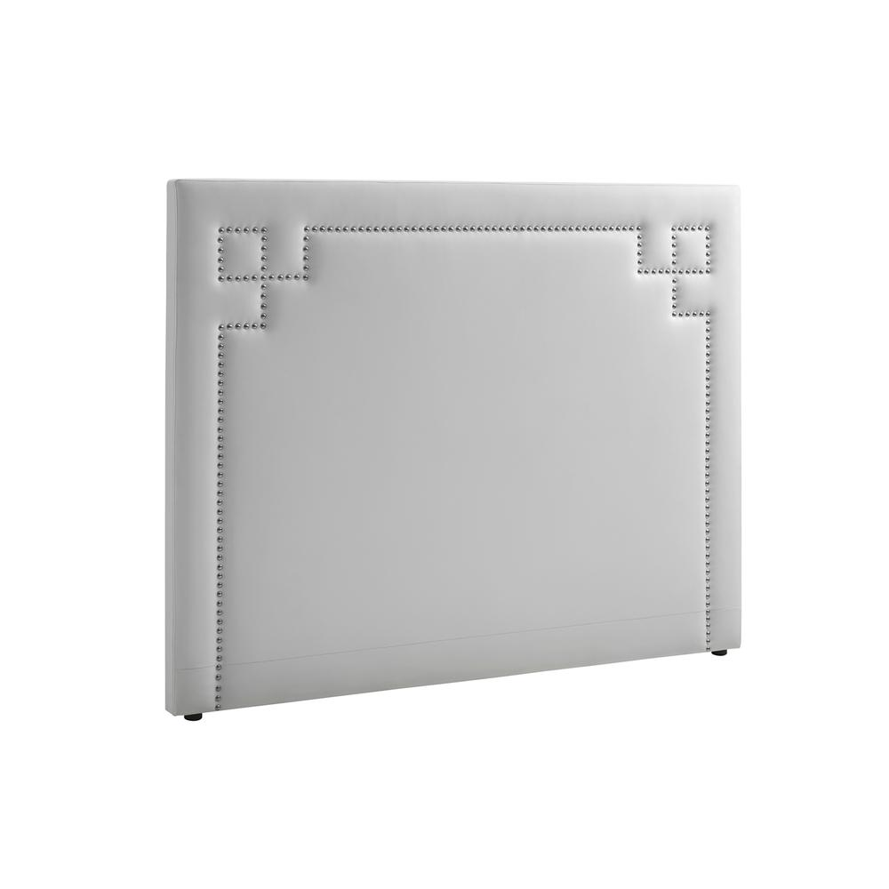 The Lungo King White Eco-leather Headboard With Chrome Studs