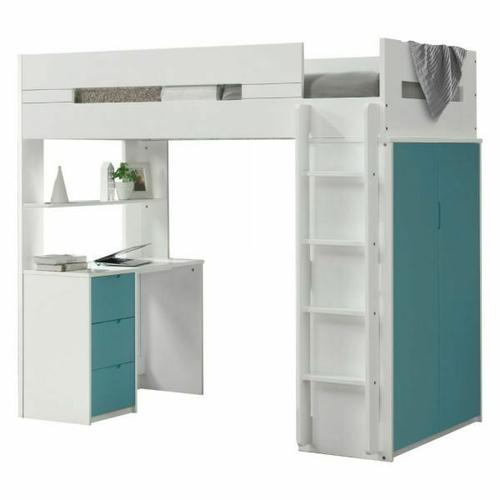 ACME Nerice Loft Bed - 38045 - White & Teal