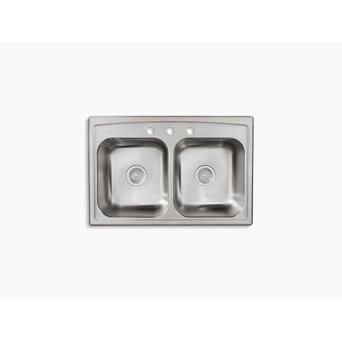 """33"""" X 22"""" X 9-1/4"""" Top-mount Double-equal Kitchen Sink"""
