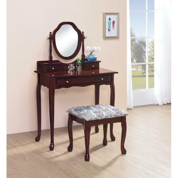 Traditional Brown-red Vanity Set