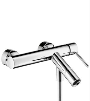 Chrome Single lever bath mixer for exposed installation with pin handle Product Image