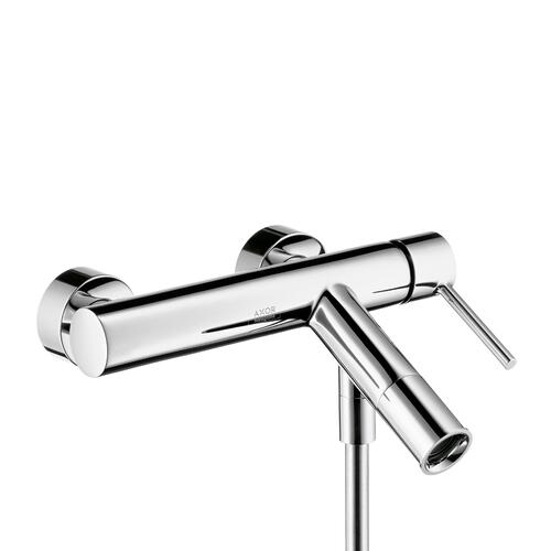 Brushed Nickel Single lever bath mixer for exposed installation with pin handle