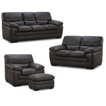 6983 FLEETWOOD: Leather Ottoman in Stallion Dark Grey (MFG#: 6983-06-MG0A)