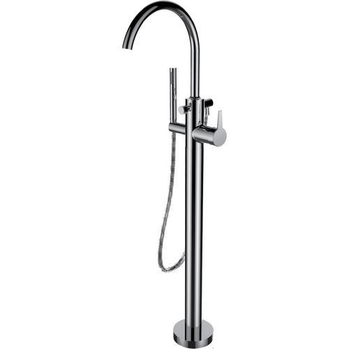 Floor Mount Tub Filler With Hand Shower in Satin Nickel