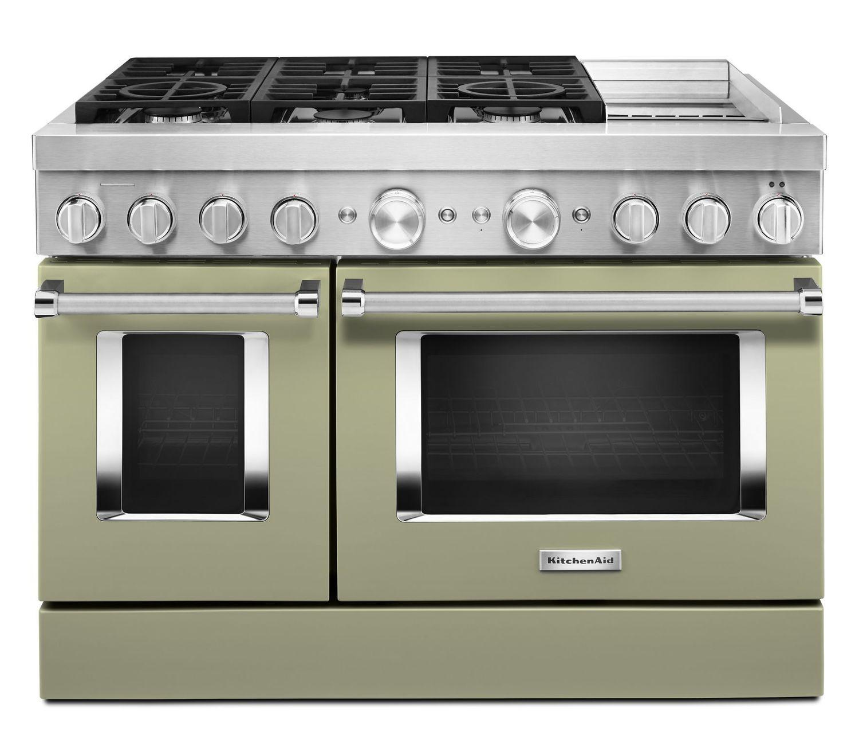 KitchenaidKitchenaid® 48'' Smart Commercial-Style Dual Fuel Range With Griddle Avocado Cream