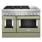 KitchenAid® 48'' Smart Commercial-Style Dual Fuel Range with Griddle Avocado Cream Product Image