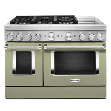 KitchenAid® 48'' Smart Commercial-Style Dual Fuel Range with Griddle Avocado Cream