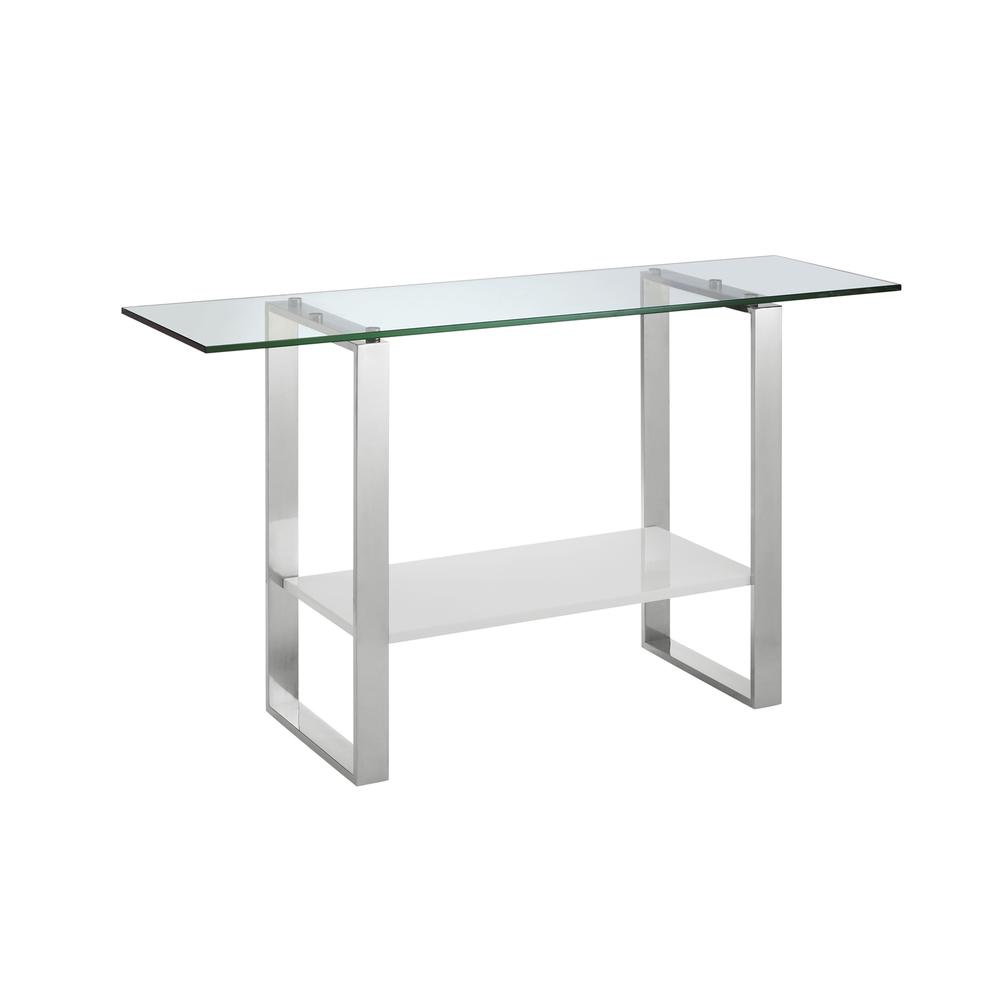 The Clarity Console Table In High Gloss White Lacquer With High Polished Stainless Steel