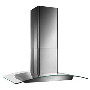 BroanBroan® 35-3/8-Inch x 25-5/8-Inch Convertible Curved Glass Canopy Island Range Hood, 500 CFM, Stainle