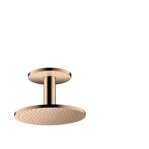 Polished Red Gold Overhead shower 250 1jet with ceiling connection