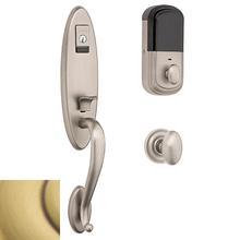 Satin Brass and Brown Evolved Blakely Handleset