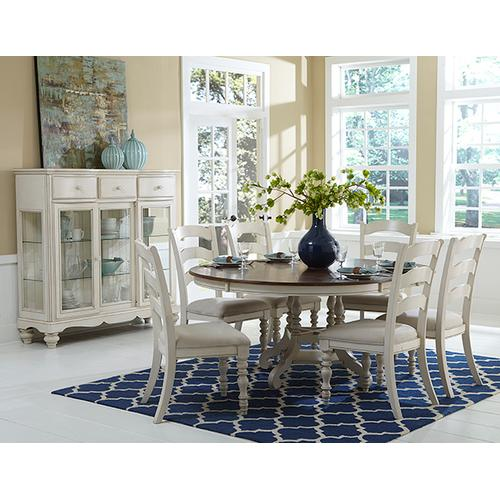Gallery - Pine Island Round 7 Piece Set With Ladder Back Chairs- Old White