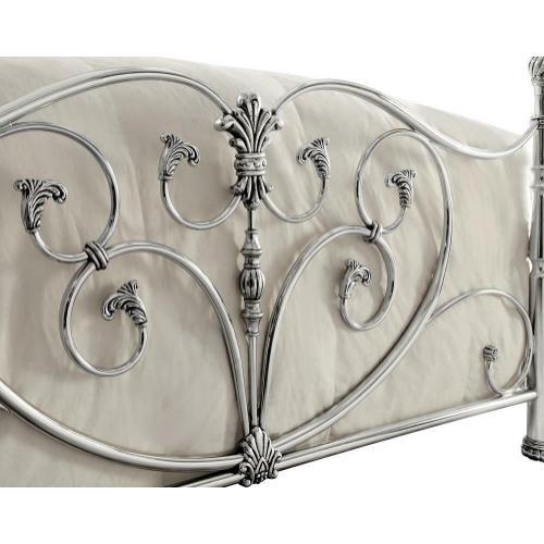 Evita Silver Metal Scrollwork Queen Bed