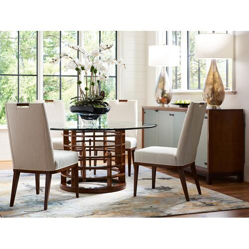 Meridien Round Dining Table With Glass Top 72 Inch