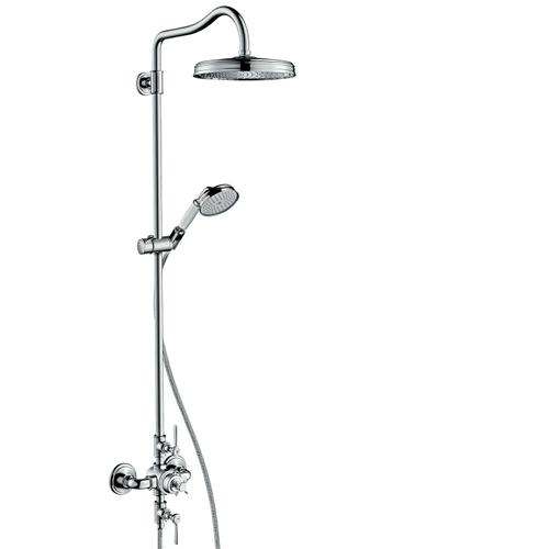 Brushed Red Gold Showerpipe with thermostat and overhead shower 240 1jet