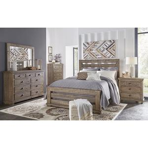 4/6 Upholstered Full Headboard - Weathered Gray Finish