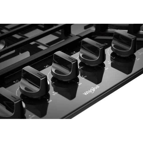 Whirlpool - 36-inch Gas Cooktop with EZ-2-Lift™ Hinged Cast-Iron Grates Black