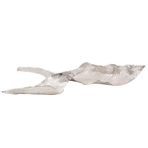 Howard Elliott - Elongated Aluminum Abstract Leaf Tray - Small