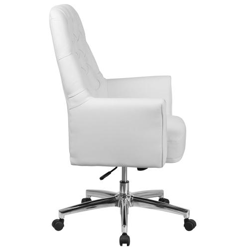Mid-Back Traditional Tufted White Leather Executive Swivel Chair with Arms