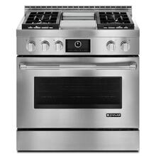 """See Details - Pro-Style® 36"""" Gas Range with Griddle and MultiMode® Convection Stainless Steel"""