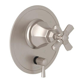 Palladian Pressure Balance Trim with Diverter - Satin Nickel with Cross Handle