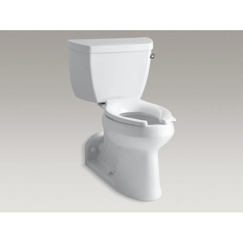 White Two-piece Elongated Chair Height Toilet With Concealed Trapway