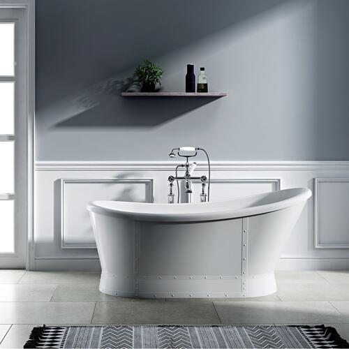 "Millicent 66"" Acrylic Freestanding Slipper Tub - Brushed Nickel Drain and Overflow"