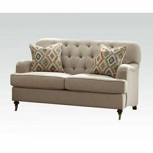 ACME Alianza Loveseat w/2 Pillows - 52581 - Beige Fabric