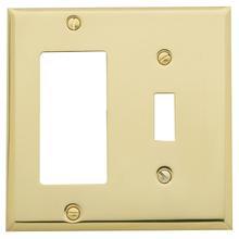 See Details - Polished Brass Beveled Edge GFCI / Single Toggle Combo
