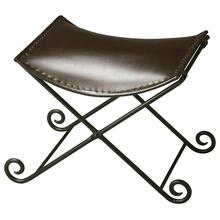 "This sleek seat redefines ""stool "" for discerning consumers intent on having not only beautiful for intriguing home environments. Crafted from iron and leather, the puppy tail feet of the base add fanciful flourish on the floor. The seat securely hooks"