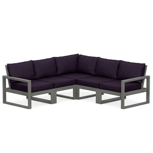 Polywood Furnishings - EDGE 5-Piece Modular Deep Seating Set in Slate Grey / Navy Linen