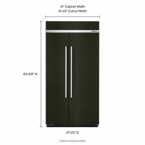 KitchenAid - 25.5 cu. ft 42-Inch Width Built-In Side by Side Refrigerator with PrintShield™ Finish - Black Stainless