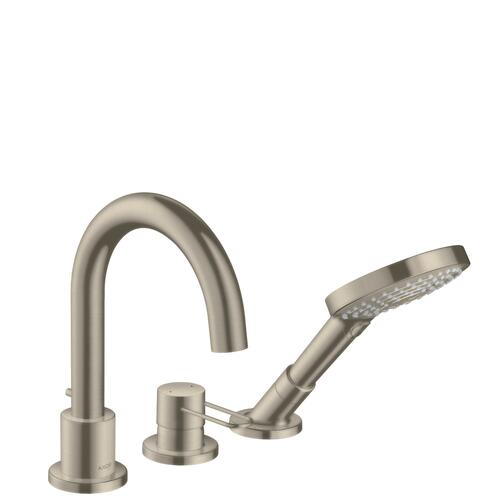 Brushed Nickel 3-hole rim mounted bath mixer with loop handle