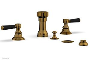 HENRI Four Hole Bidet Set - Satin Black Lever Handles 161-62 - French Brass Product Image