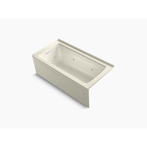 "Biscuit 60"" X 30"" Three-side Integral Flange Whirlpool Bath With Left-hand Drain, Heater, and Comfort Depth Design"