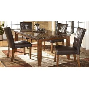 """All Wood Furniture - Brown Laminate Top """"Boat-Shape"""" Table and Brown Uph Chairs"""