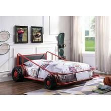 ACME Taban Twin Bed - 38070T - Red/Silver & Black PU