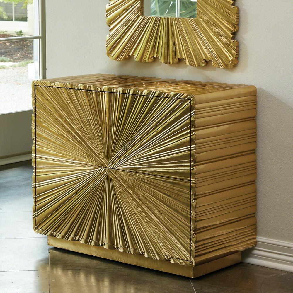 See Details - Linenfold Two-Drawer Chest-Brass