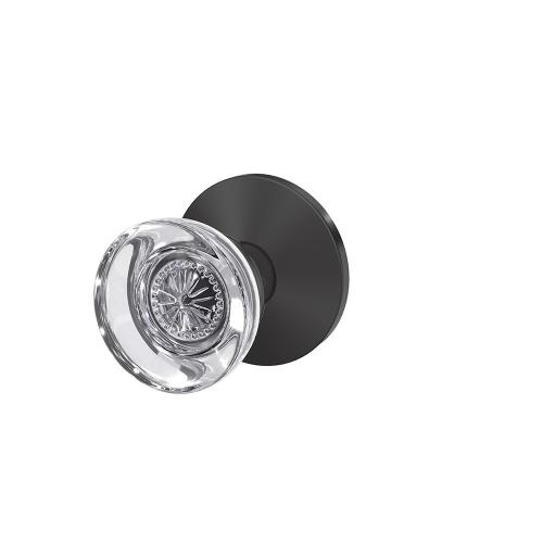 Custom Hobson Glass Knob with Kinsler Trim Hall-Closet and Bed-Bath Lock - Matte Black