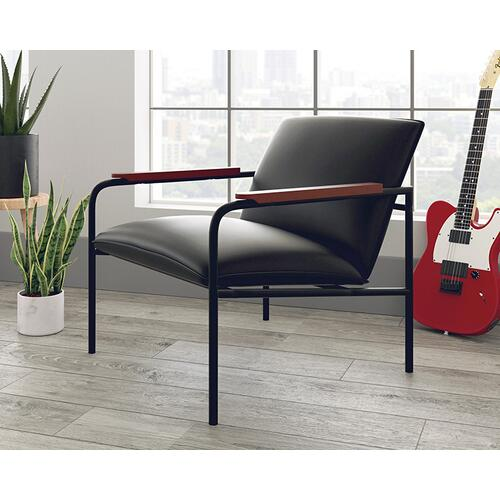 Faux Black Leather Lounge Chair
