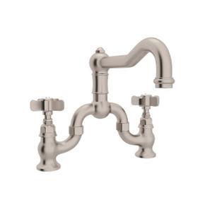 Satin Nickel Acqui Deck Mount Column Spout Bridge Kitchen Faucet with Five Spoke Cross Handle