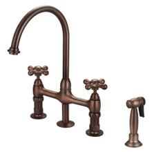 Harding Kitchen Bridge Faucet with Sidespray and Metal Cross Handles - Oil Rubbed Bronze