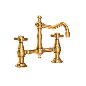 Aged Brass Kitchen Bridge Faucet
