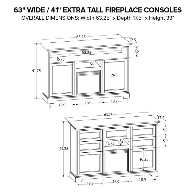 FT63F Extra Tall Fireplace Custom TV Console
