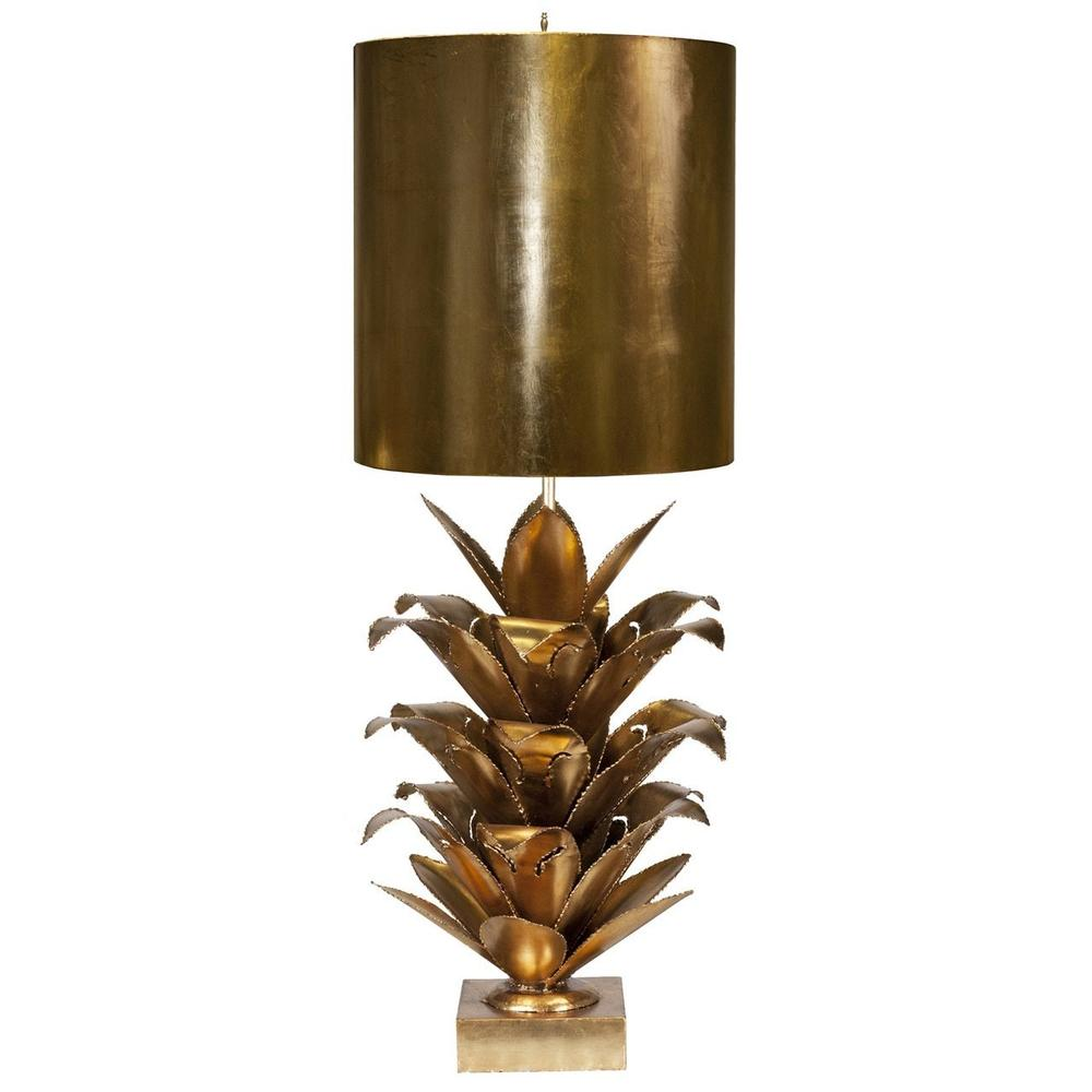 """Inspired By Its Mid Century Modernist Roots, the Arianna Brutalist Palm Tree Lamp Brightens Up Any Room With Dazzling Style. A Brilliant Gold Leaf Finish With A Coordinating Metal Shade Completes the Vintage Look. Did You Get It At the Paris Flea Market"""" We'll Never TELL..."""