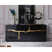 Modrest Aspen - Modern High Gloss Black & Gold Buffet